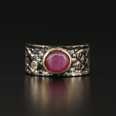 Sterling Silver Star Ruby and Topaz Ring Featuring Lattice Design