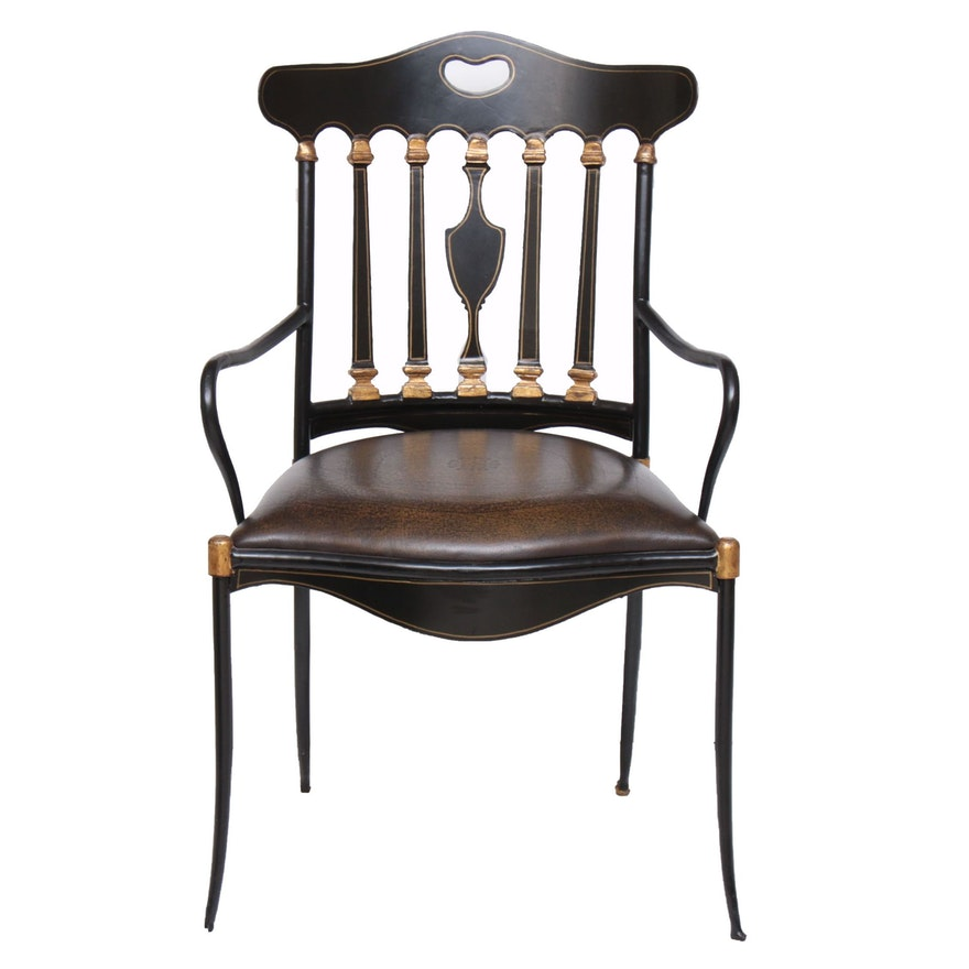 Theodore Alexander Regency Style Parcel-Gilt Ebonized Armchair