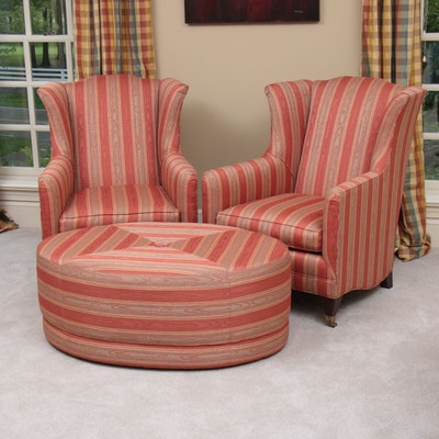 Pair of Henredon Wingback Armchairs and Matching Ottoman