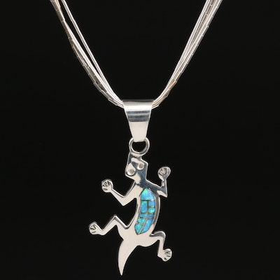 Sterling Opal and Gaspeite Reversible Lizard Pendant on Liquid Silver Necklace