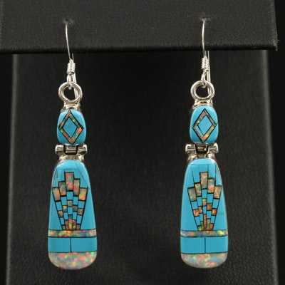 Western Sterling Silver Opal and Faux Turquoise Inlay Earrings