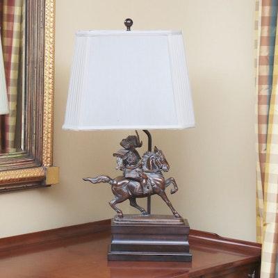 Japanese Shuzan Calvary Samurai Warrior on Horse Bronze Lamp