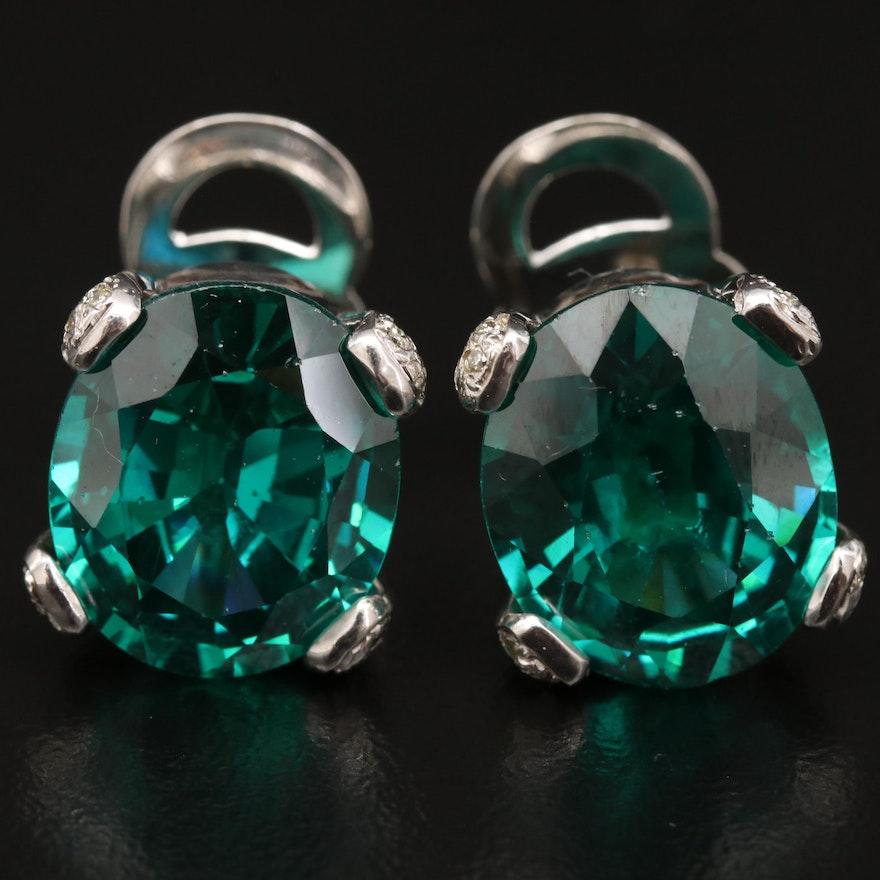 14K Cubic Zirconia and Diamond Stud Earrings