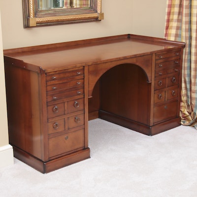 Custom Cherrywood Executive Desk with Figural Hardware