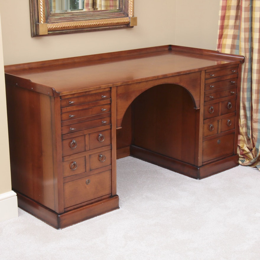 Custom Cherrywood Executive Desk with Figural Hardware