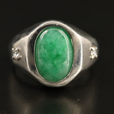 Sterling Silver Jadeite Ring with Cubic Zirconia Accents