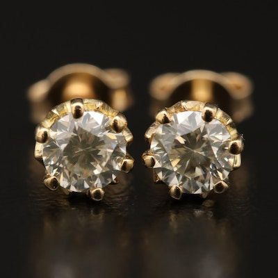 18K and 14K 0.83 CTW Diamond Stud Earrings