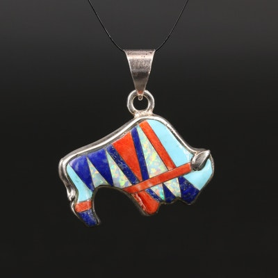 Sterling Silver Lapis Lazuli, Spiny Oyster and Opal Inlay Buffalo Pendant