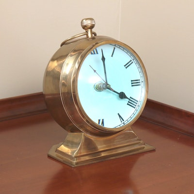 Railway Regulator Style Brass and Magnified Convex Glass Mantel Clock