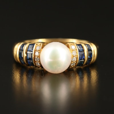 18K Pearl, Sapphire and Diamond Ring