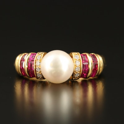 18K Ruby, Diamond and Pearl Ring