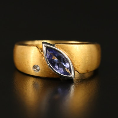18K Bezel Set Tanzanite and Diamond Ring