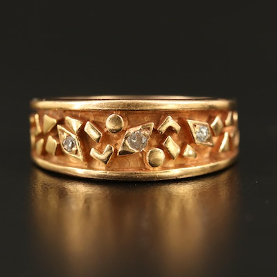 14K Geometric Motif Ring with Diamond Accents