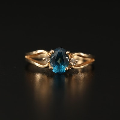 14K Topaz and Diamond Split Shank Ring