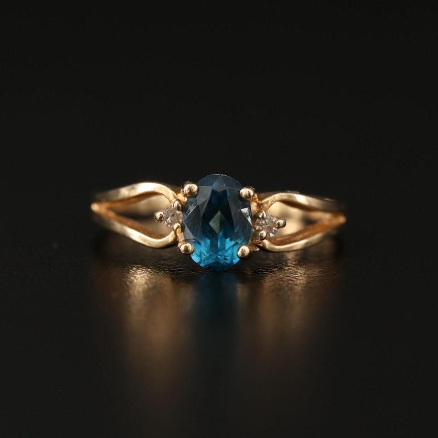 14K Topaz and Diamond Split Shank Ring