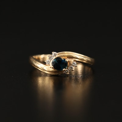14K Sapphire and Diamond Bypass Ring with Ribbed Shoulders