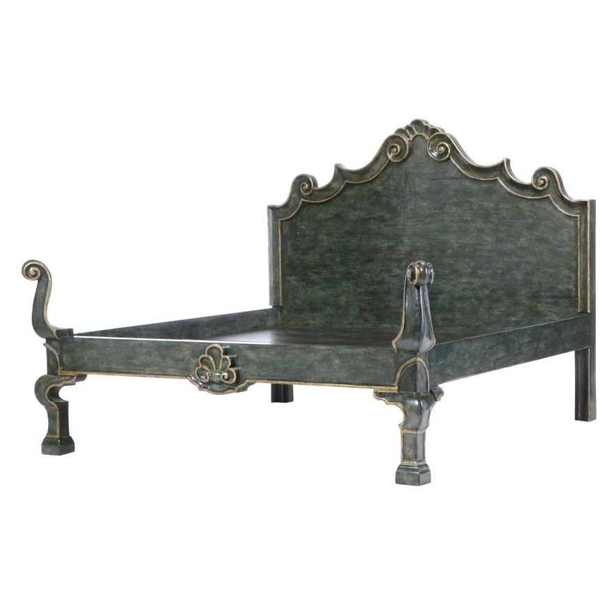 "Michael Taylor Designs Painted and Parcel-Gilt King Size ""Italian"" Bed Frame"