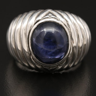 Sterling Silver Iolite Fluted Ring