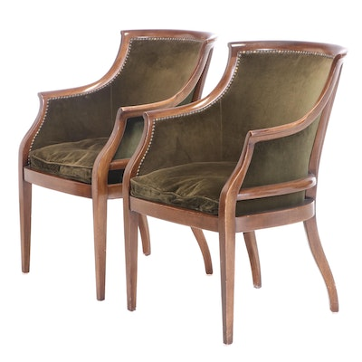 Pair of Velvet-Upholstered Mahogany Tub Chairs, 20th Century