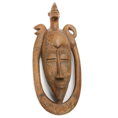 Guro Inspired Hand-Carved Wooden Mask, Cote d'Ivoire