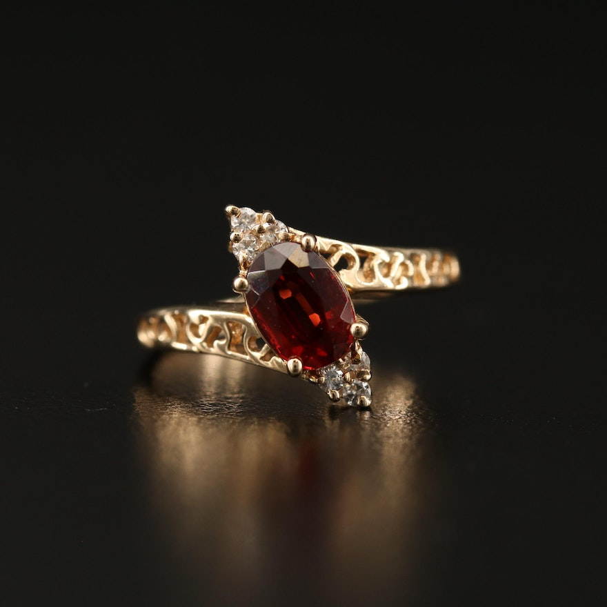14K Garnet and Diamond Bypass Ring with Openwork Shoulders