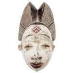 Punu Polychrome Carved Wood Mask, Central Africa