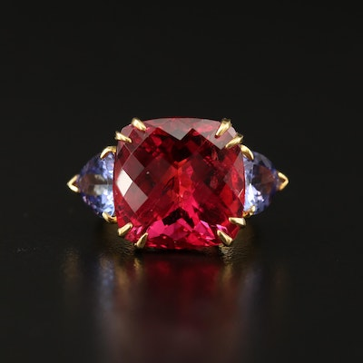 18K 17.32 CT Rubellite and Tanzanite Ring