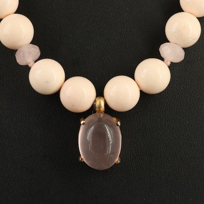 Rose Quartz and Faux Coral Necklace with Sterling Silver Clasp