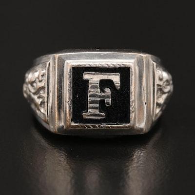 "14K Enamel ""F"" Ring"