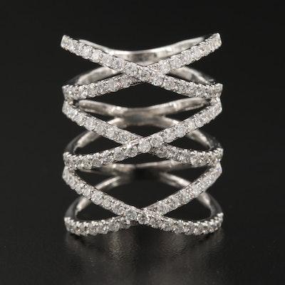 18K 1.96 CTW Diamond Multi Layered Criss Cross Ring