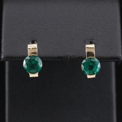 14K Tension Set Emerald Stud Earrings