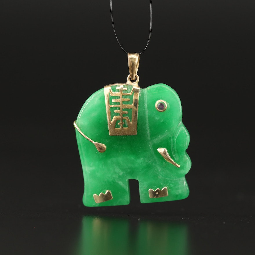 Asian Style Jadeite and Ruby Carved Elephant Pendant with 14K Accents