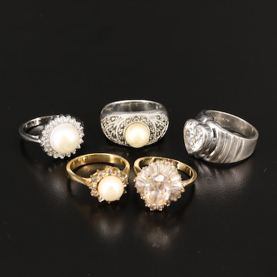 Sterling Silver Rings with Pearl, Marcasite and Cubic Zriconia