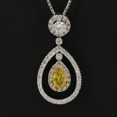 14K 2.24 CTW Diamond Pendant Necklace with GIA Report Inscription