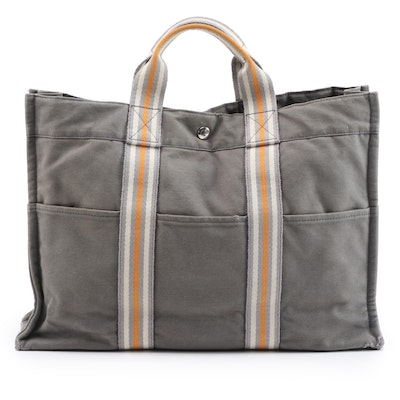 Hermès Fourre Tout MM Tote Bag in Grey Canvas and Multicolor Stripe Web