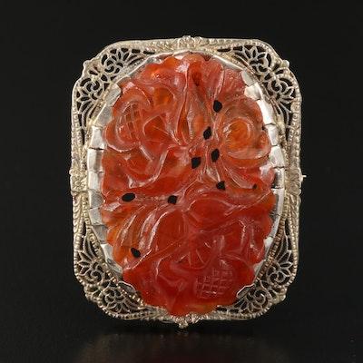 14K Carved Carnelian Floral Motif Filigree Converter Brooch