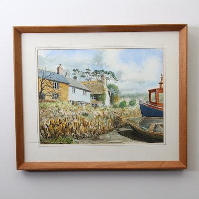 "L.R. Davies Watercolor Painting ""St. Clement's Truro"""