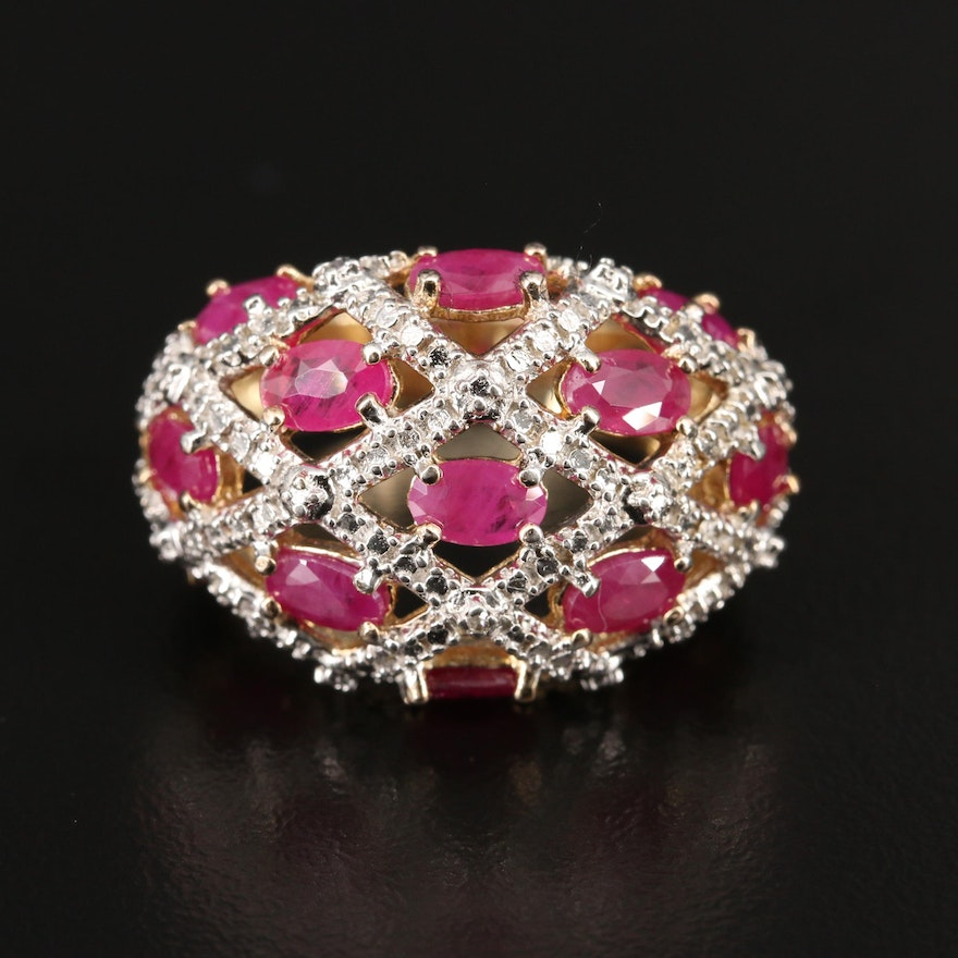 Sterling Silver Ruby and Diamond Domed Openwork Ring