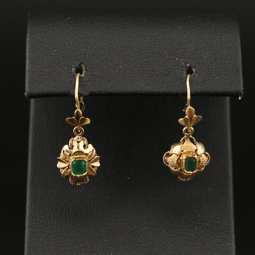 14K and 18K Cennetille Dangle Earrings with Emerald