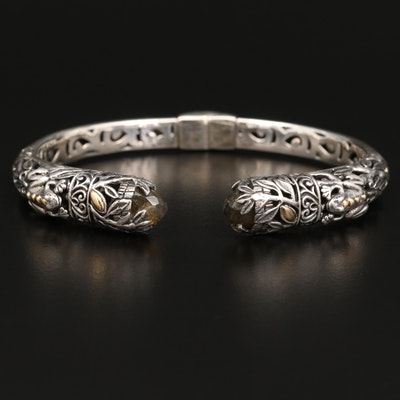 Bali Styled Robert Manse Sterling Silver Labradorite Hinged Cuff