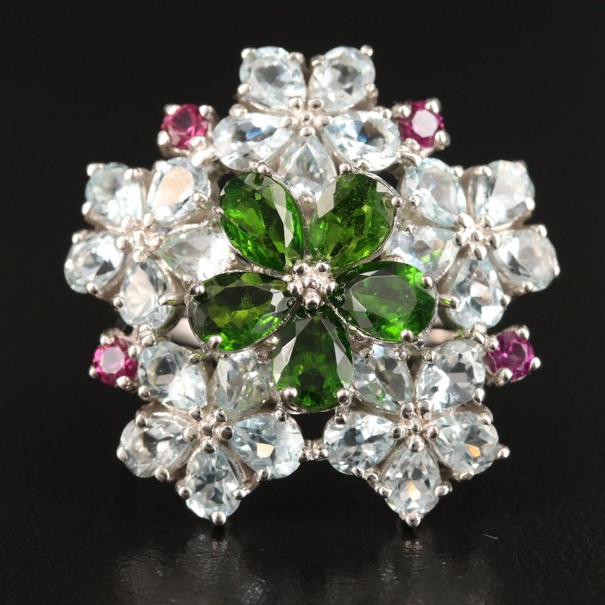 Sterling Silver Diopside, Aquamarine and Rhodolite Garnet Floral Ring