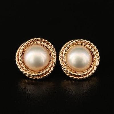 14K Pearl Button Earrings
