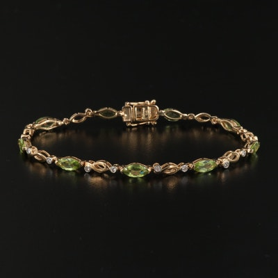 Sterling Silver Peridot and Diamond Link Bracelet