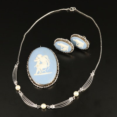 Sterling Jasperware Brooch and Earrings with Pearl Station Necklace and Wedgwood