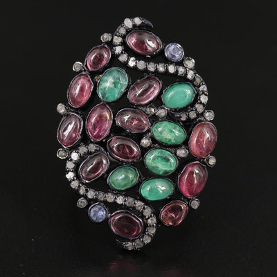 Sterling Silver Diamond and Gemstone Openwork Ring with Swirling Designs