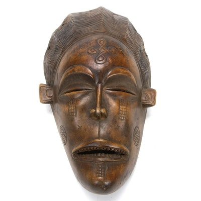 Chokwe Style Carved Wood Mask, Central Africa