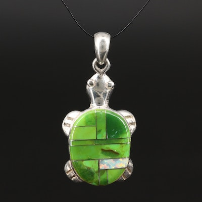 Sterling Silver Turquoise and Opal Turtle Inlay Pendant