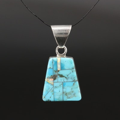 Sterling Silver Opal and Turquoise Inlay Pendant