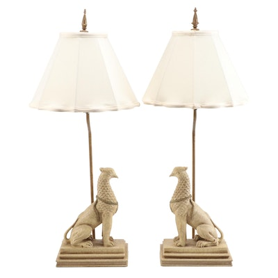 Pair of Egyptian Revival Style Composite Gryphon Table Lamps with Shades