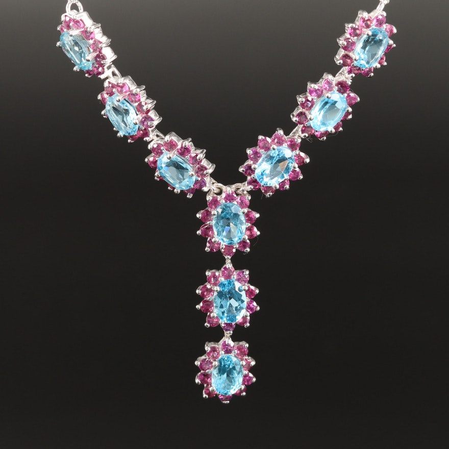 Sterling Silver Topaz and Rhodolite Garnet Y Necklace